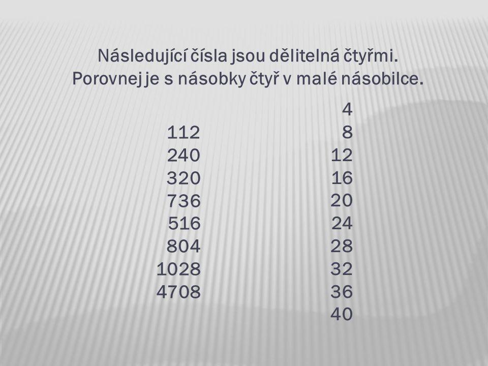 Následující čísla jsou dělitelná čtyřmi. Porovnej je s násobky čtyř v malé násobilce. 112 240 320 736 516 804 1028 4708 4 8 12 16 20 24 28 32 36 40