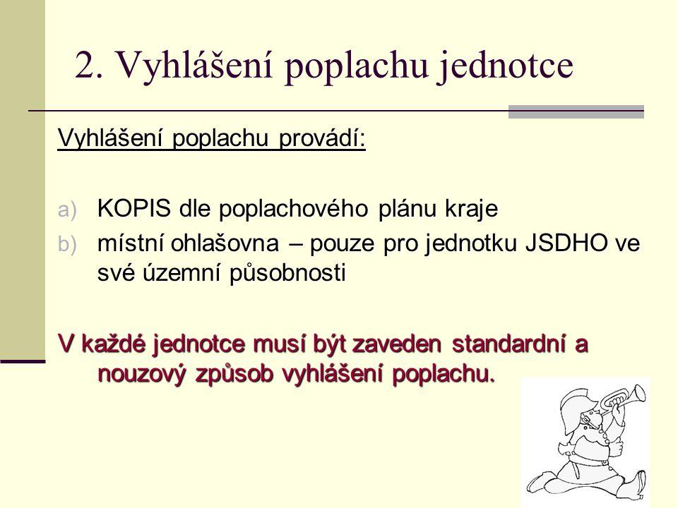 2. Vyhlášení poplachu jednotce Vyhlášení poplachu provádí: a) KOPIS dle poplachového plánu kraje b) místní ohlašovna – pouze pro jednotku JSDHO ve své