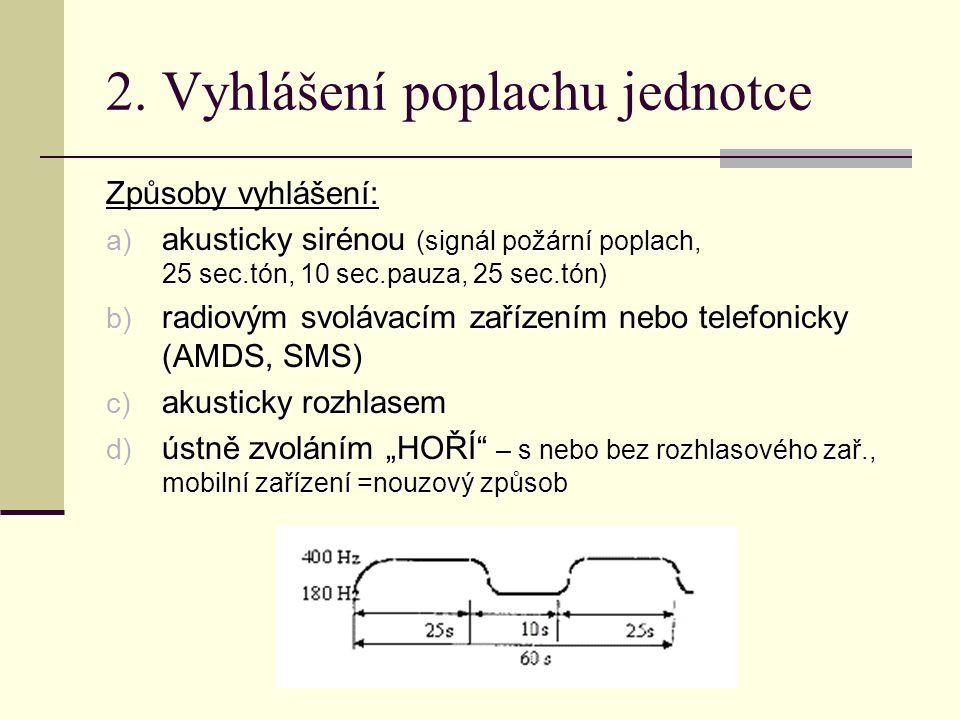 2. Vyhlášení poplachu jednotce Způsoby vyhlášení: a) akusticky sirénou (signál požární poplach, 25 sec.tón, 10 sec.pauza, 25 sec.tón) b) radiovým svol