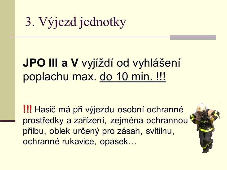 JPO III a V vyjíždí od vyhlášení poplachu max. do 10 min. !!! !!! Hasič má při výjezdu osobní ochranné prostředky a zařízení, zejména ochrannou přilbu