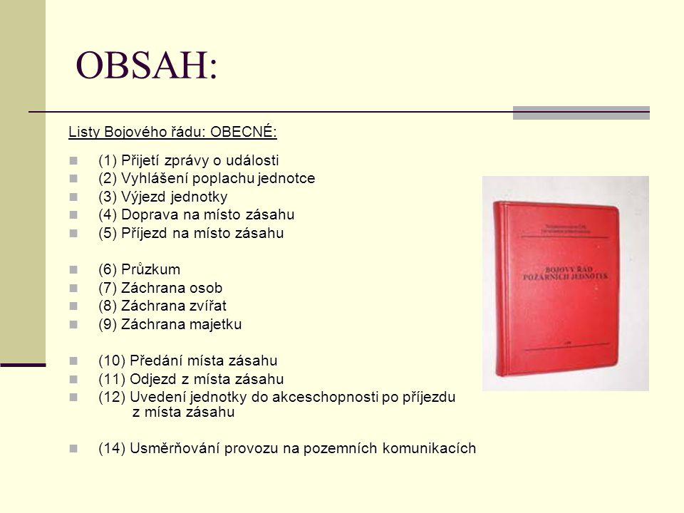 OBSAH: Listy Bojového řádu: OBECNÉ: (1) Přijetí zprávy o události (1) Přijetí zprávy o události (2) Vyhlášení poplachu jednotce (2) Vyhlášení poplachu