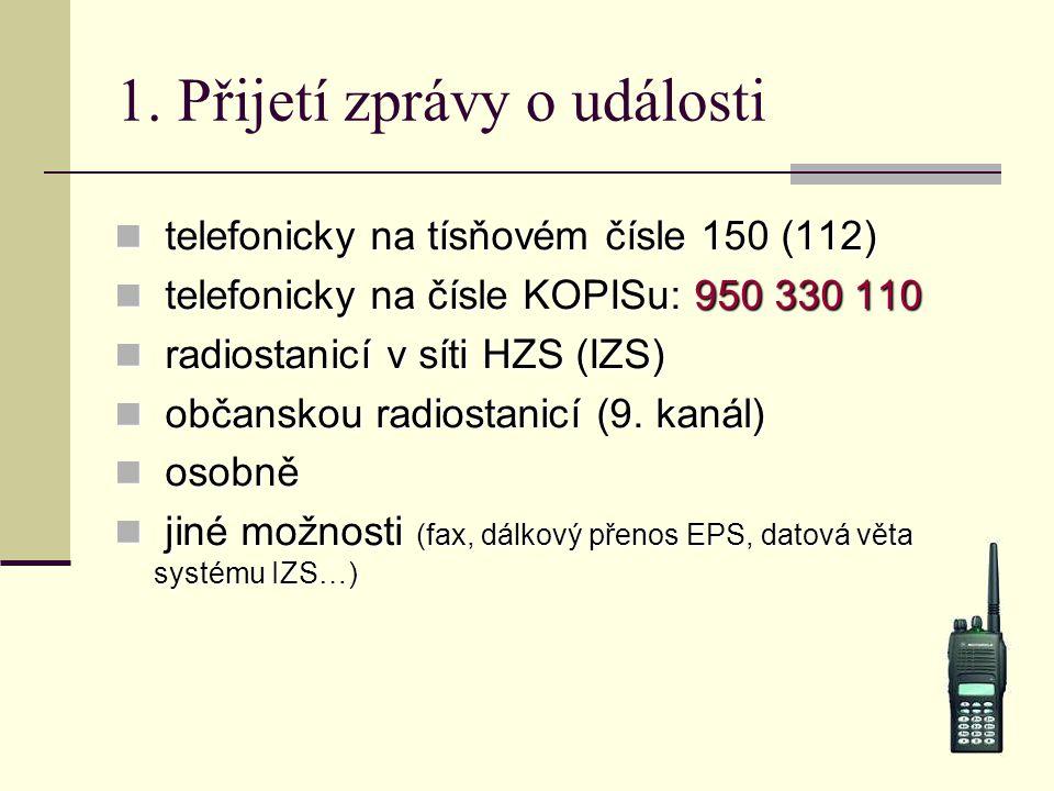 1. Přijetí zprávy o události telefonicky na tísňovém čísle 150 (112) telefonicky na tísňovém čísle 150 (112) telefonicky na čísle KOPISu: 950 330 110