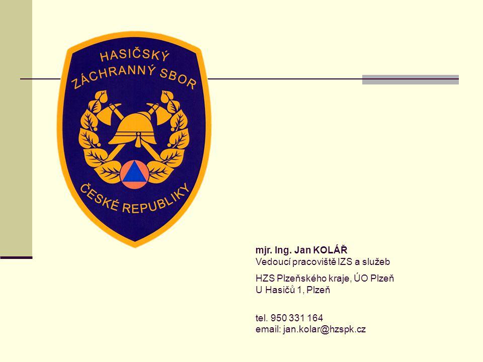 mjr. Ing. Jan KOLÁŘ Vedoucí pracoviště IZS a služeb HZS Plzeňského kraje, ÚO Plzeň U Hasičů 1, Plzeň tel. 950 331 164 email: jan.kolar@hzspk.cz