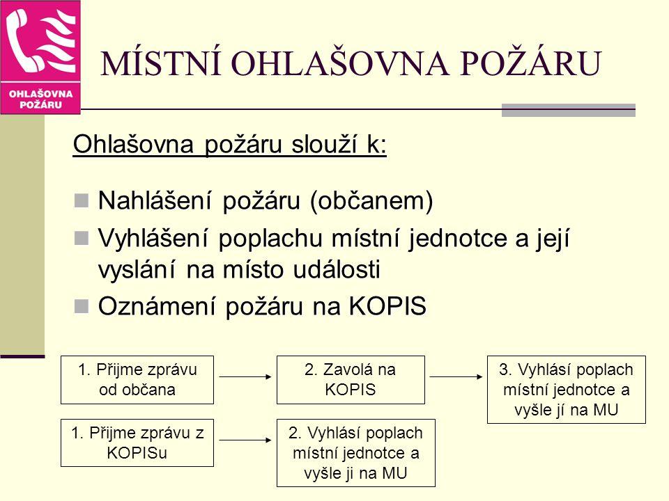 MÍSTNÍ OHLAŠOVNA POŽÁRU Ohlašovna požáru slouží k: Nahlášení požáru (občanem) Nahlášení požáru (občanem) Vyhlášení poplachu místní jednotce a její vys