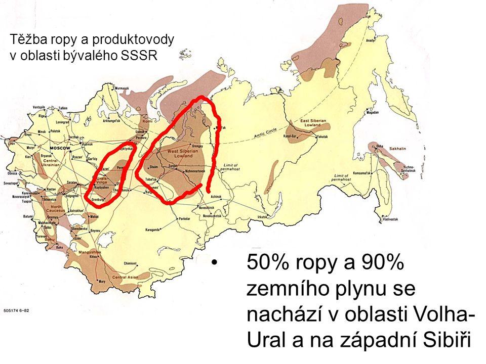 50% ropy a 90% zemního plynu se nachází v oblasti Volha- Ural a na západní Sibiři Těžba ropy a produktovody v oblasti bývalého SSSR