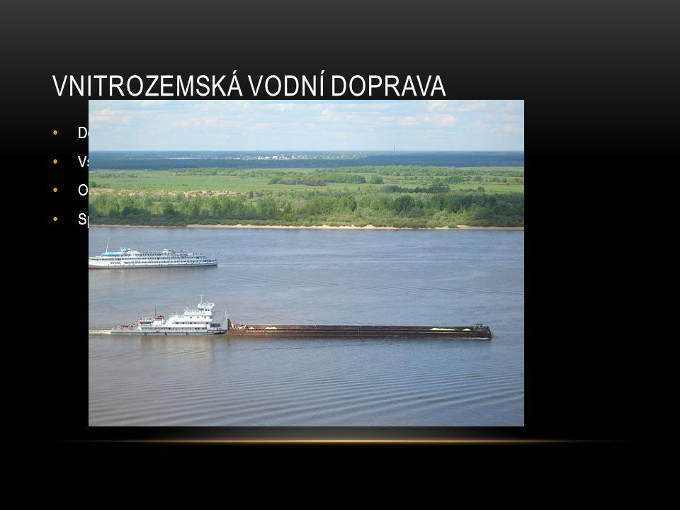 VNITROZEMSKÁ VODNÍ DOPRAVA Doprava po řekách, jezerech… Všechny vnitrozemské vodní plochy Osobní X Nákladní Speciálním případem je voroplavba