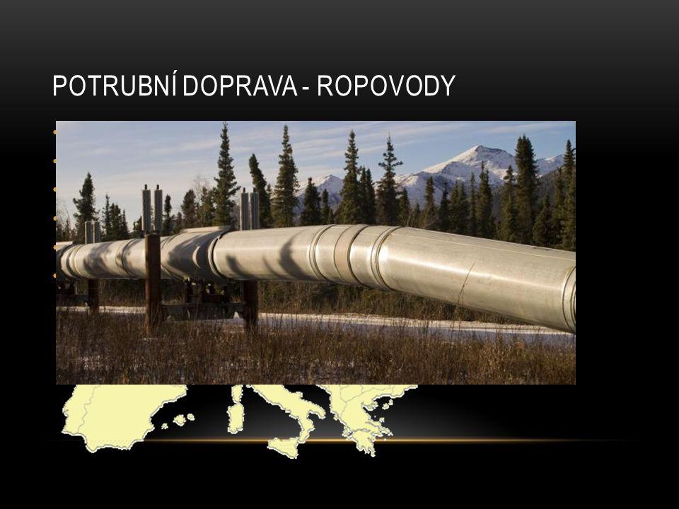 POTRUBNÍ DOPRAVA - ROPOVODY Určeny pro přepravu ropy Pro pohyb ropy se využívá gravitace, rozdílu tlaku i čerpadel Nad zemí i pod zemí Nad zemí nebezpečí navrtání, zvláště v nestabilních oblastech světa ČR – Družba a Ingolstadt Družba je největším ropovodem na světě (5502km)