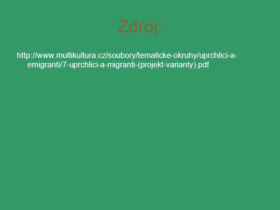 Zdroj: http://www.multikultura.cz/soubory/tematicke-okruhy/uprchlici-a- emigranti/7-uprchlici-a-migranti-(projekt-varianty).pdf
