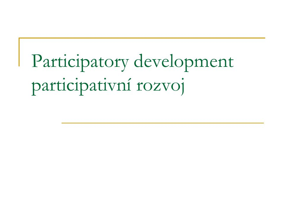 Paternalistic role of development professionals Vlastnictví monopolu na řešení systematicky podhodnocuje kapacity lokálů činit vlastní rozhodnutí stejně jako si určovat vlastní priority To stěžuje rozvojovým plánovačům adekvátně nahlížet potřeby skrze perspektivu cílové populace