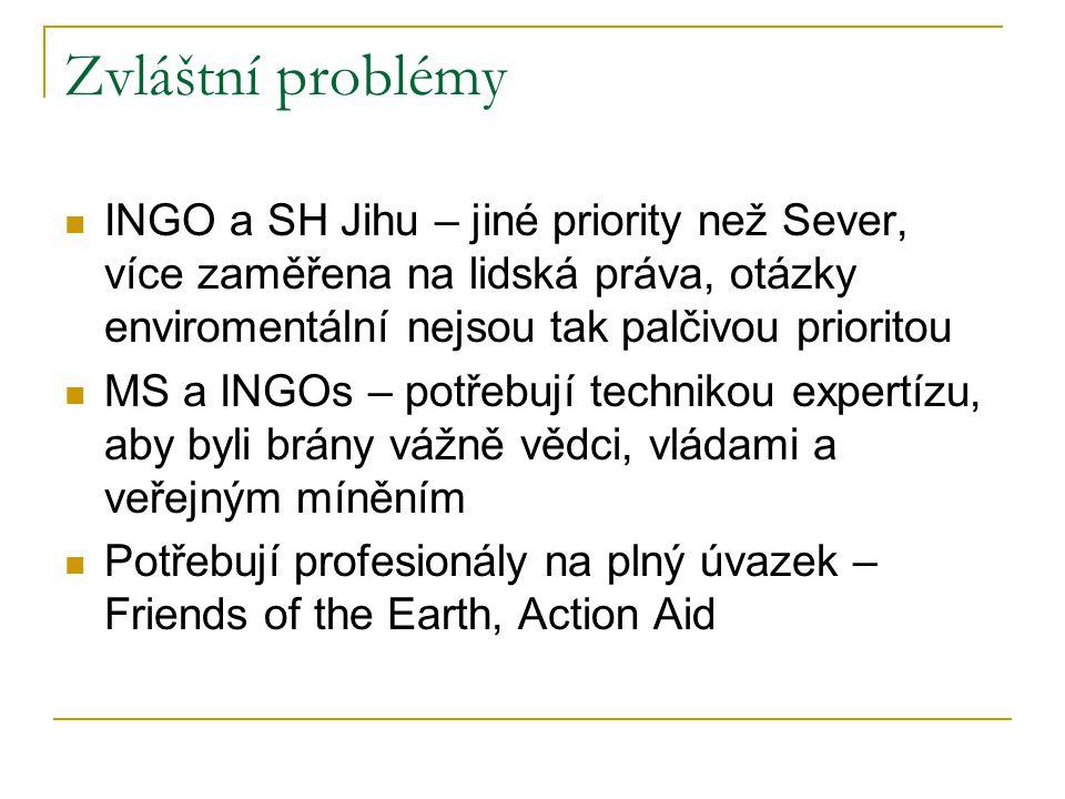 Zvláštní problémy INGO a SH Jihu – jiné priority než Sever, více zaměřena na lidská práva, otázky enviromentální nejsou tak palčivou prioritou MS a INGOs – potřebují technikou expertízu, aby byli brány vážně vědci, vládami a veřejným míněním Potřebují profesionály na plný úvazek – Friends of the Earth, Action Aid