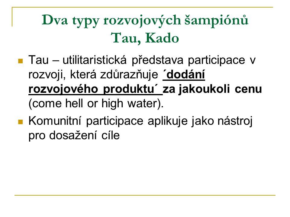 Dva typy rozvojových šampiónů Tau, Kado Tau – utilitaristická představa participace v rozvoji, která zdůrazňuje ´dodání rozvojového produktu´ za jakoukoli cenu (come hell or high water).