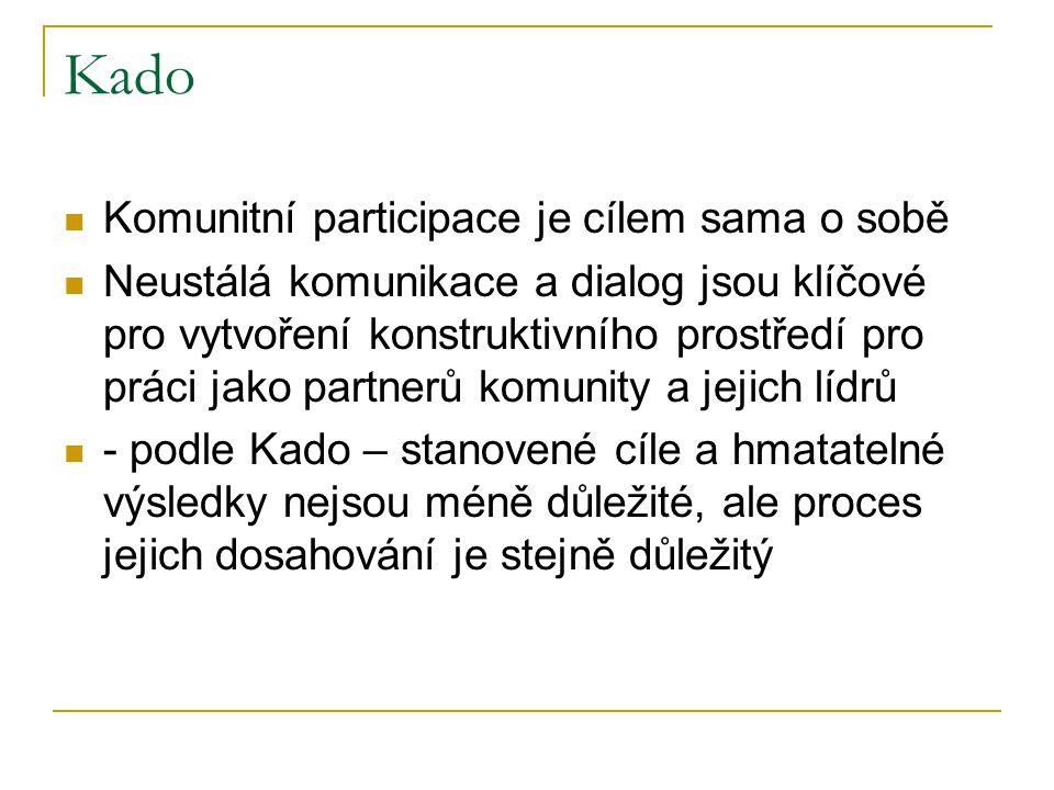 Kado Komunitní participace je cílem sama o sobě Neustálá komunikace a dialog jsou klíčové pro vytvoření konstruktivního prostředí pro práci jako partnerů komunity a jejich lídrů - podle Kado – stanovené cíle a hmatatelné výsledky nejsou méně důležité, ale proces jejich dosahování je stejně důležitý