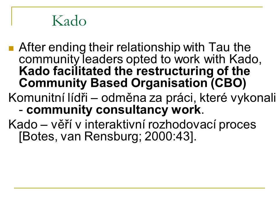 Kado After ending their relationship with Tau the community leaders opted to work with Kado, Kado facilitated the restructuring of the Community Based Organisation (CBO) Komunitní lídři – odměna za práci, které vykonali - community consultancy work.