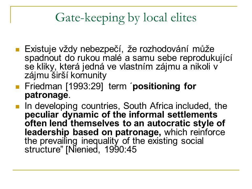 Gate-keeping by local elites Existuje vždy nebezpečí, že rozhodování může spadnout do rukou malé a samu sebe reprodukující se kliky, která jedná ve vlastním zájmu a nikoli v zájmu širší komunity Friedman [1993:29] term ´positioning for patronage.