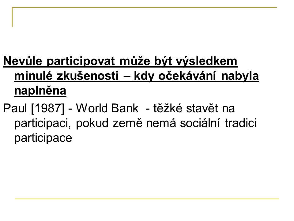 Nevůle participovat může být výsledkem minulé zkušenosti – kdy očekávání nabyla naplněna Paul [1987] - World Bank - těžké stavět na participaci, pokud země nemá sociální tradici participace