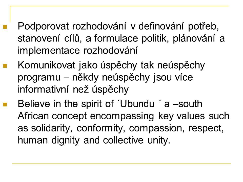 Podporovat rozhodování v definování potřeb, stanovení cílů, a formulace politik, plánování a implementace rozhodování Komunikovat jako úspěchy tak neúspěchy programu – někdy neúspěchy jsou více informativní než úspěchy Believe in the spirit of ´Ubundu ´ a –south African concept encompassing key values such as solidarity, conformity, compassion, respect, human dignity and collective unity.