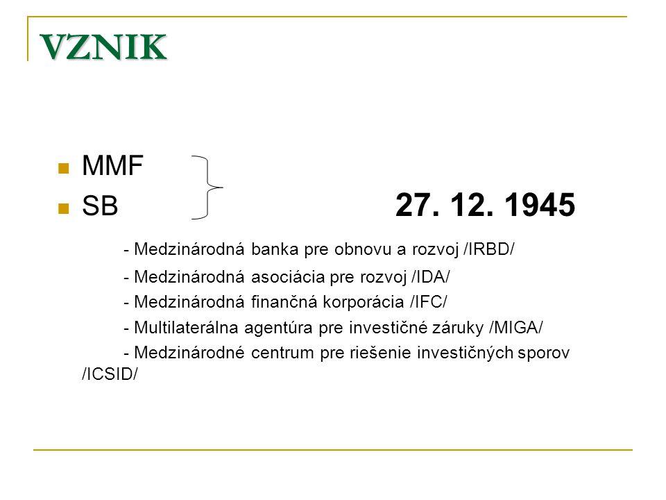 VZNIK MMF SB - Medzinárodná banka pre obnovu a rozvoj /IRBD/ - Medzinárodná asociácia pre rozvoj /IDA/ - Medzinárodná finančná korporácia /IFC/ - Multilaterálna agentúra pre investičné záruky /MIGA/ - Medzinárodné centrum pre riešenie investičných sporov /ICSID/ 27.