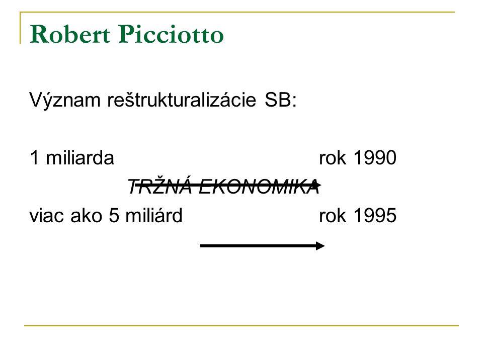 Robert Picciotto Význam reštrukturalizácie SB: 1 miliardarok 1990 TRŽNÁ EKONOMIKA viac ako 5 miliárdrok 1995