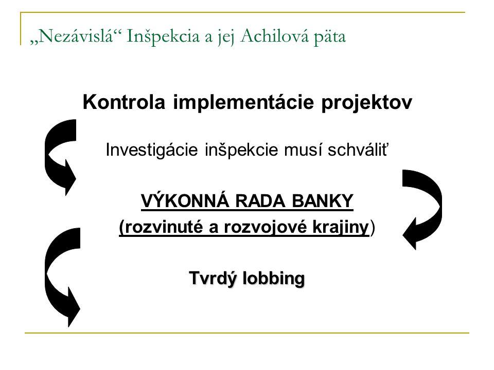 """""""Nezávislá Inšpekcia a jej Achilová päta Kontrola implementácie projektov Investigácie inšpekcie musí schváliť VÝKONNÁ RADA BANKY (rozvinuté a rozvojové krajiny) Tvrdý lobbing"""