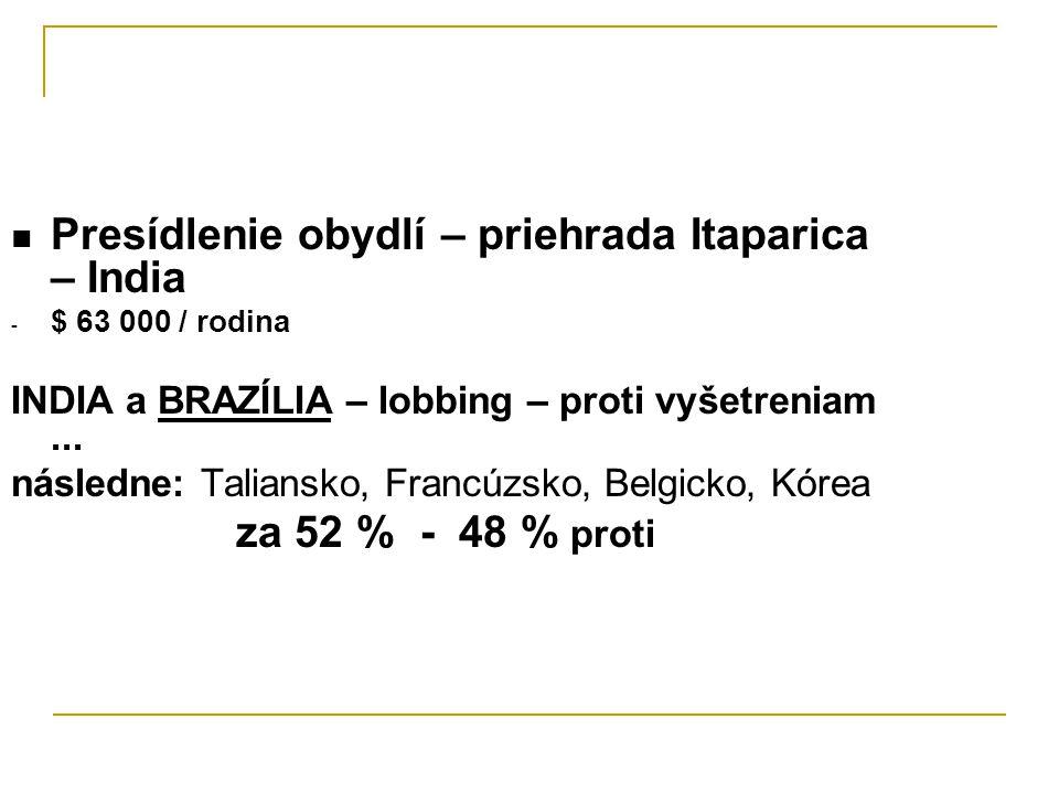 Presídlenie obydlí – priehrada Itaparica – India - $ 63 000 / rodina INDIA a BRAZÍLIA – lobbing – proti vyšetreniam...
