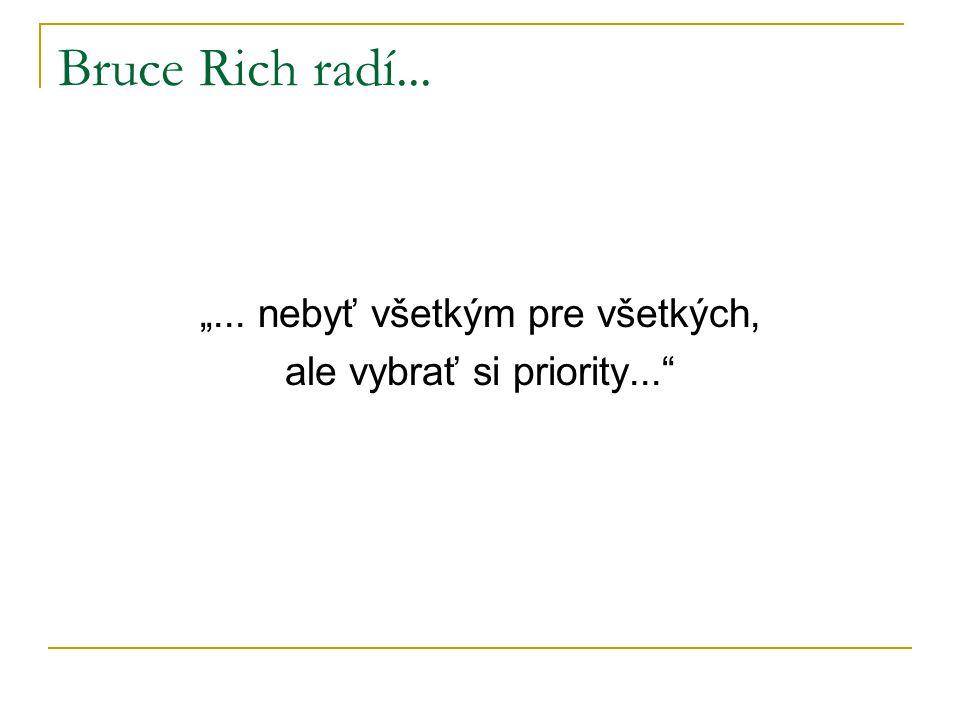 """Bruce Rich radí... """"... nebyť všetkým pre všetkých, ale vybrať si priority..."""