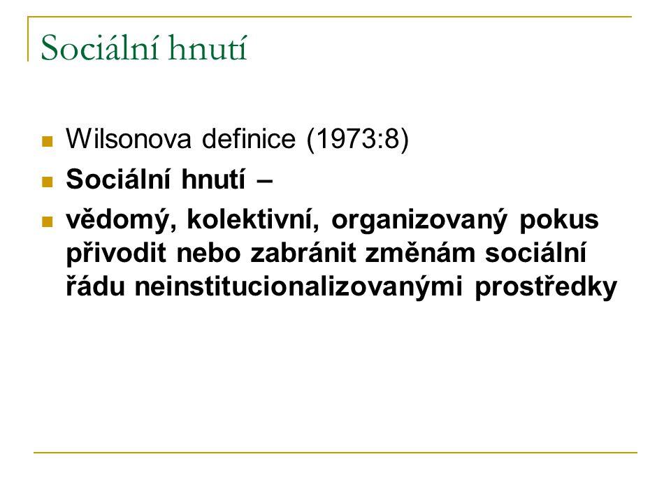 Sociální hnutí Wilsonova definice (1973:8) Sociální hnutí – vědomý, kolektivní, organizovaný pokus přivodit nebo zabránit změnám sociální řádu neinstitucionalizovanými prostředky
