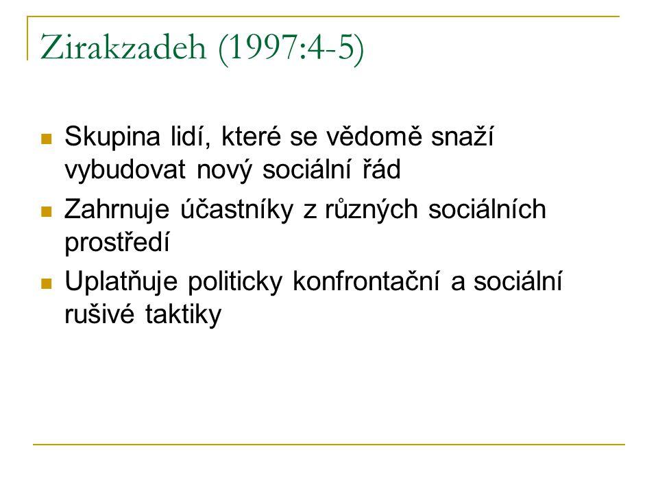 Zirakzadeh (1997:4-5) Skupina lidí, které se vědomě snaží vybudovat nový sociální řád Zahrnuje účastníky z různých sociálních prostředí Uplatňuje politicky konfrontační a sociální rušivé taktiky