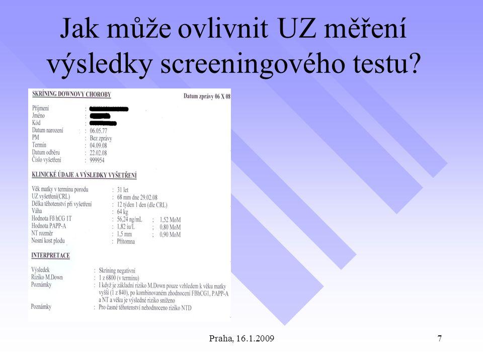 Praha, 16.1.20097 Jak může ovlivnit UZ měření výsledky screeningového testu?