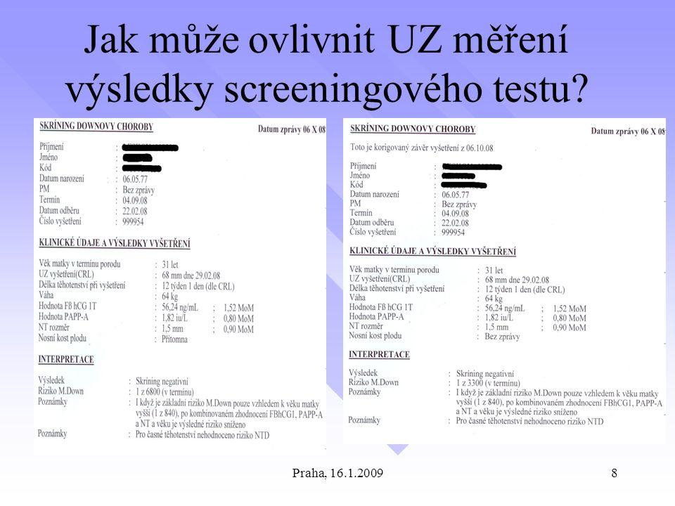 Praha, 16.1.20098 Jak může ovlivnit UZ měření výsledky screeningového testu?