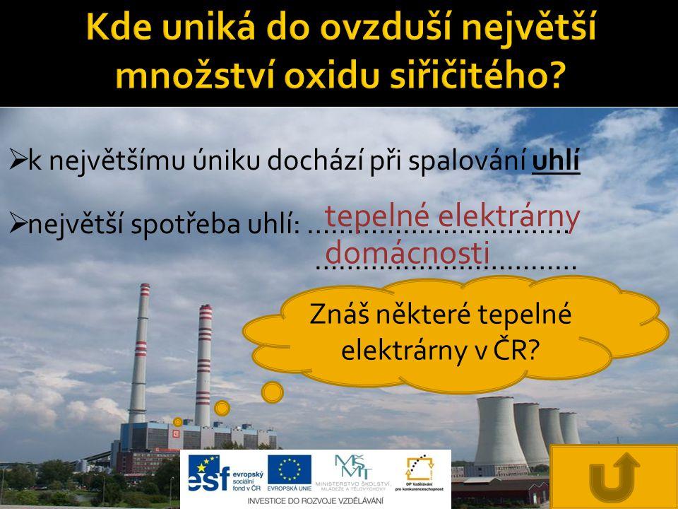  k největšímu úniku dochází při spalování uhlí  největší spotřeba uhlí: …………………………… …………………………… tepelné elektrárny domácnosti Znáš některé tepelné elektrárny v ČR?