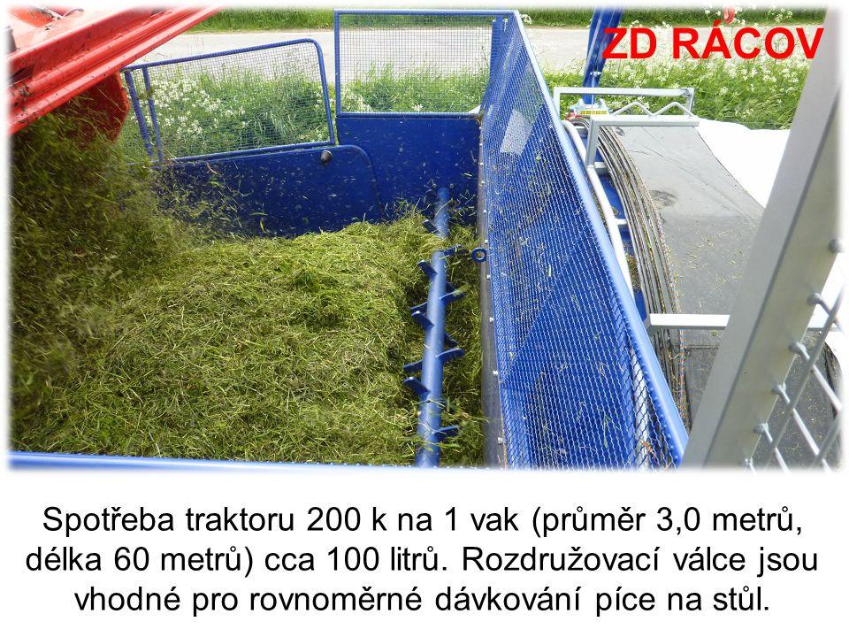 ZD RÁCOV Spotřeba traktoru 200 k na 1 vak (průměr 3,0 metrů, délka 60 metrů) cca 100 litrů. Rozdružovací válce jsou vhodné pro rovnoměrné dávkování pí
