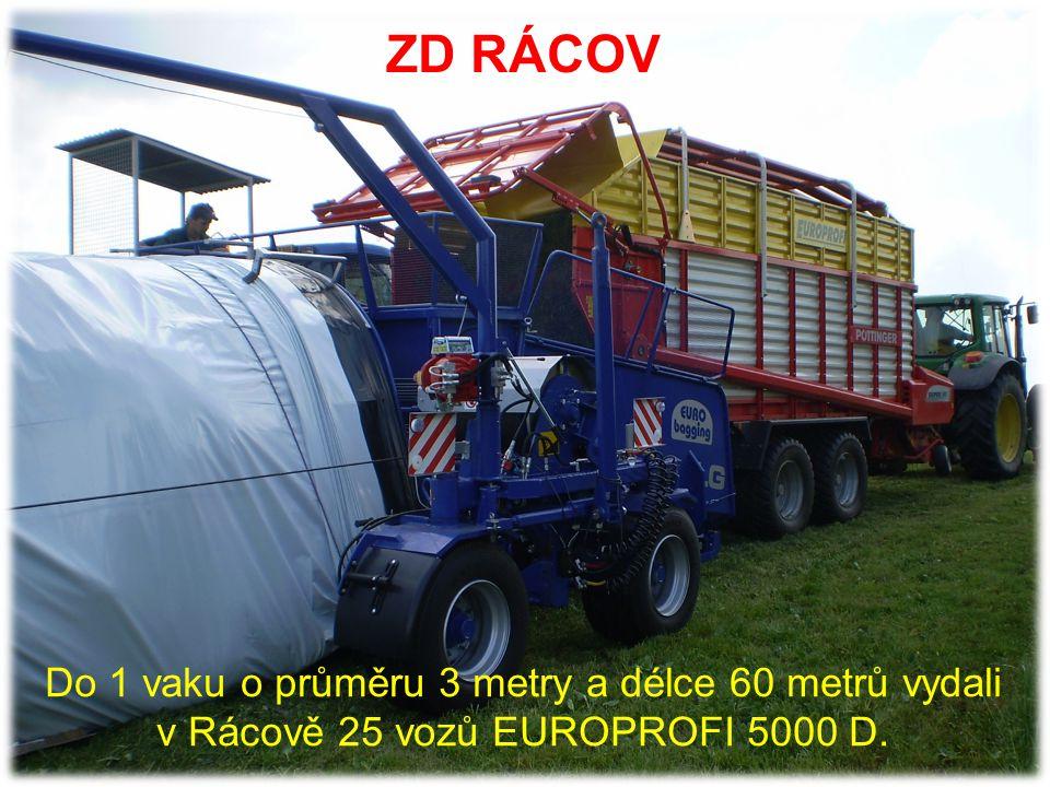 ZD RÁCOV Pro kvalitní senáž a rychlou sklizeň jsou v závislosti na podmínkách vhodné 2 – 3 vozy PÖTTINGER na 1 vakovač EUROBAGGING.