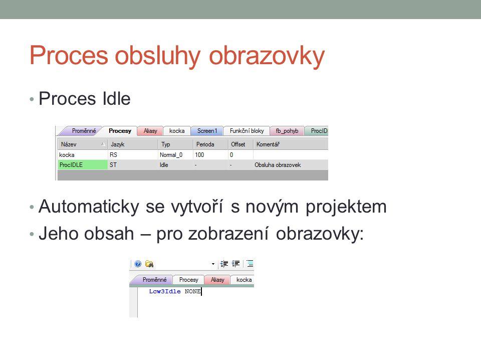 Proces obsluhy obrazovky Proces Idle Automaticky se vytvoří s novým projektem Jeho obsah – pro zobrazení obrazovky: