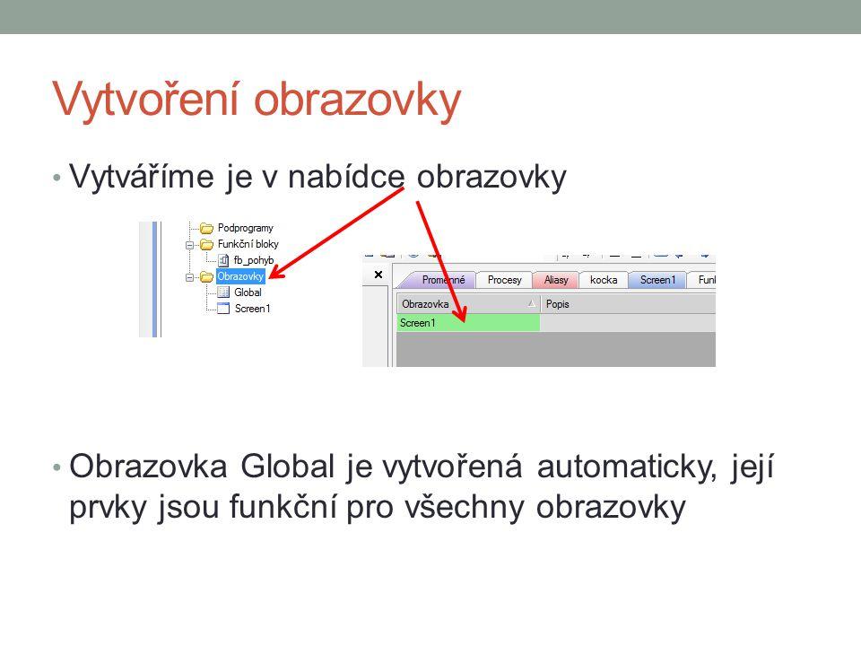 Vytvoření obrazovky Vytváříme je v nabídce obrazovky Obrazovka Global je vytvořená automaticky, její prvky jsou funkční pro všechny obrazovky