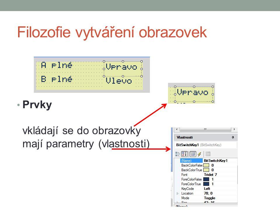 Filozofie vytváření obrazovek Prvky vkládají se do obrazovky mají parametry (vlastnosti)