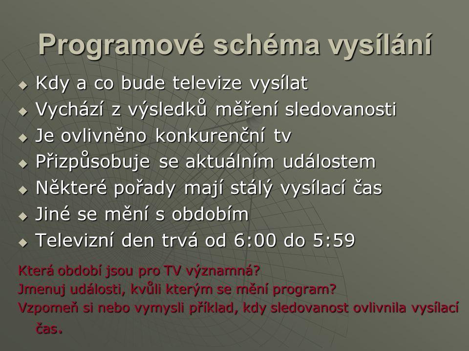 Programové schéma vysílání  Kdy a co bude televize vysílat  Vychází z výsledků měření sledovanosti  Je ovlivněno konkurenční tv  Přizpůsobuje se a
