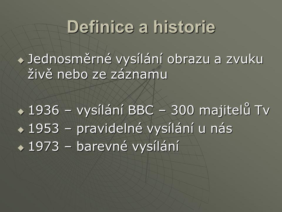 Definice a historie  Jednosměrné vysílání obrazu a zvuku živě nebo ze záznamu  1936 – vysílání BBC – 300 majitelů Tv  1953 – pravidelné vysílání u
