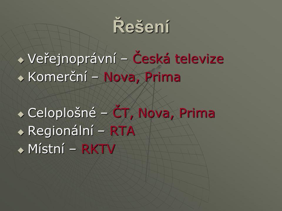 Řešení  Veřejnoprávní – Česká televize  Komerční – Nova, Prima  Celoplošné – ČT, Nova, Prima  Regionální – RTA  Místní – RKTV