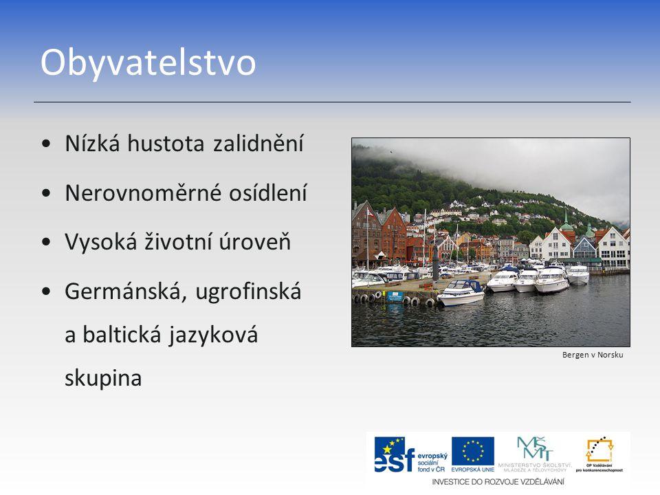 Obyvatelstvo Nízká hustota zalidnění Nerovnoměrné osídlení Vysoká životní úroveň Germánská, ugrofinská a baltická jazyková skupina Bergen v Norsku