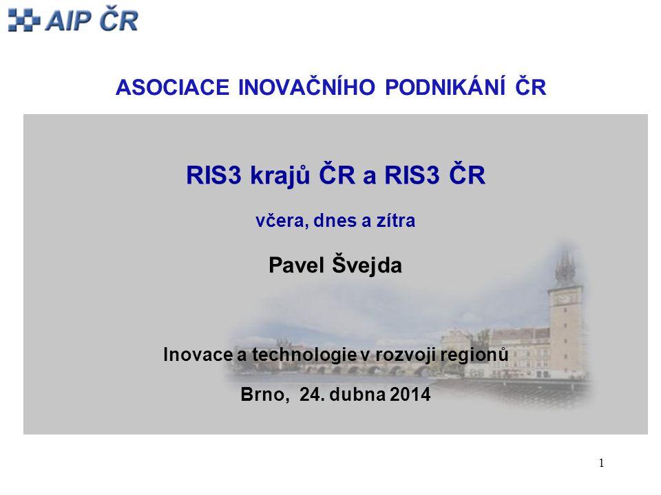 1 ASOCIACE INOVAČNÍHO PODNIKÁNÍ ČR RIS3 krajů ČR a RIS3 ČR včera, dnes a zítra Pavel Švejda Inovace a technologie v rozvoji regionů Brno, 24.