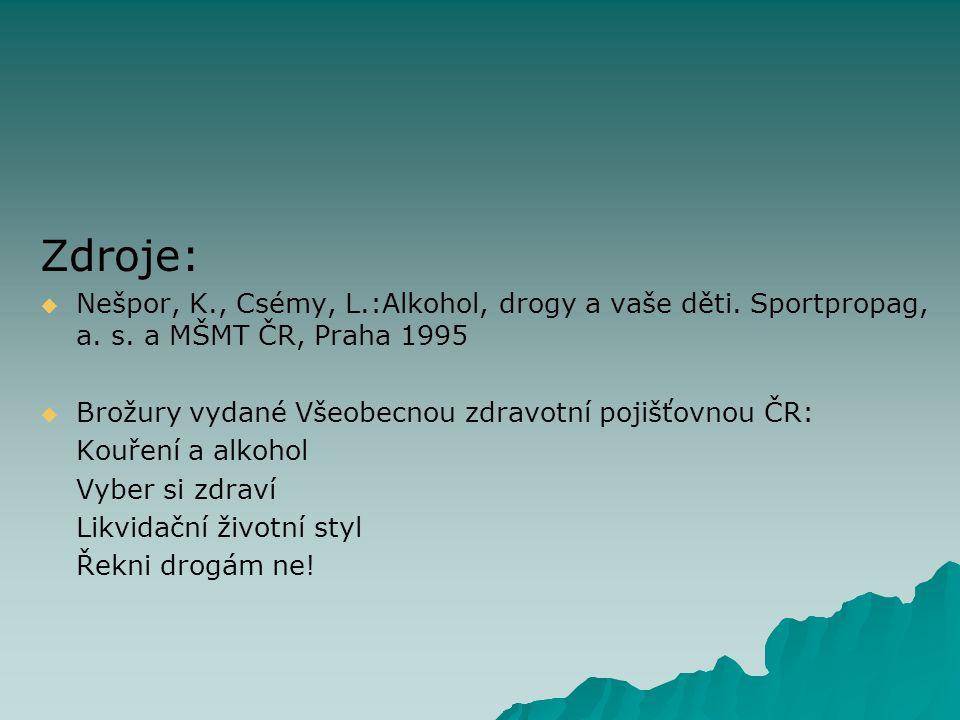 Zdroje:   Nešpor, K., Csémy, L.:Alkohol, drogy a vaše děti.