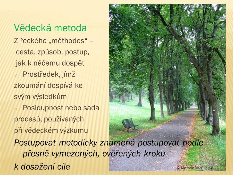 """Vědecká metoda Z řeckého """"méthodos"""" – cesta, způsob, postup, jak k něčemu dospět o Prostředek, jímž zkoumání dospívá ke svým výsledkům o Posloupnost n"""
