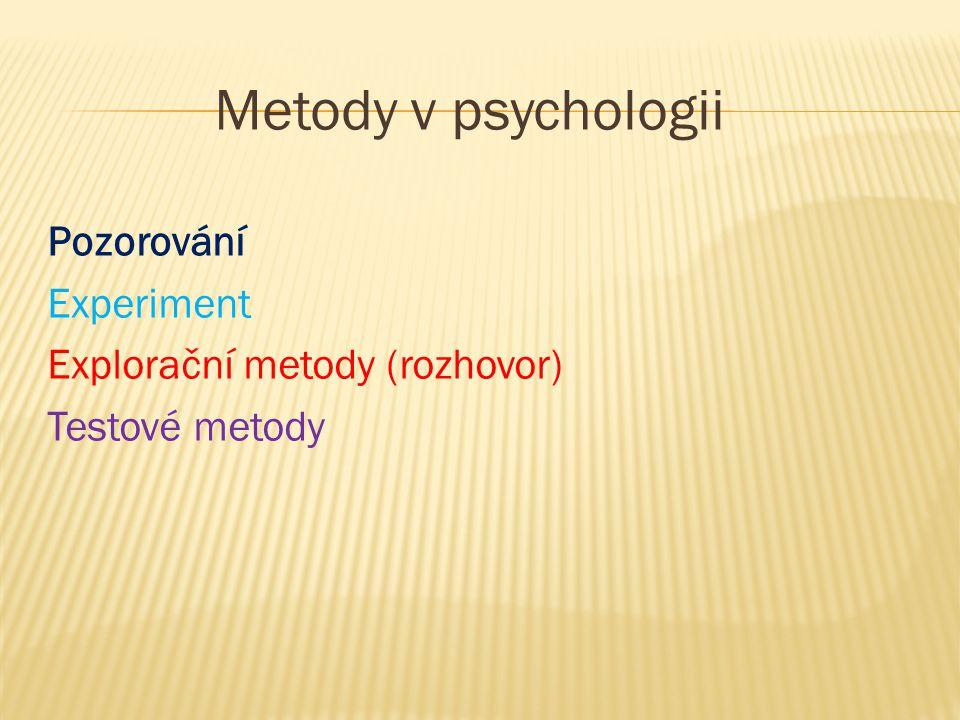 Metody v psychologii Pozorování Experiment Explorační metody (rozhovor) Testové metody
