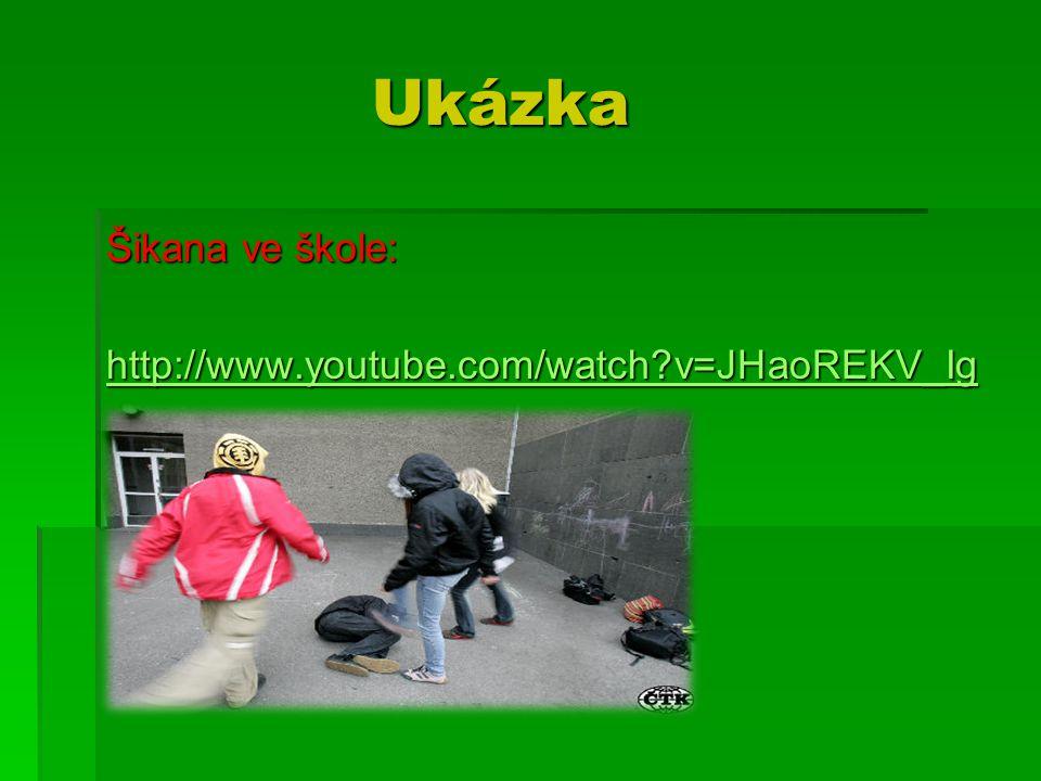 Ukázka Ukázka Šikana ve škole: http://www.youtube.com/watch?v=JHaoREKV_Ig