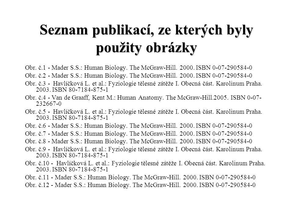 Seznam publikací, ze kterých byly použity obrázky Obr. č.1 - Mader S.S.: Human Biology. The McGraw-Hill. 2000. ISBN 0-07-290584-0 Obr. č.2 - Mader S.S