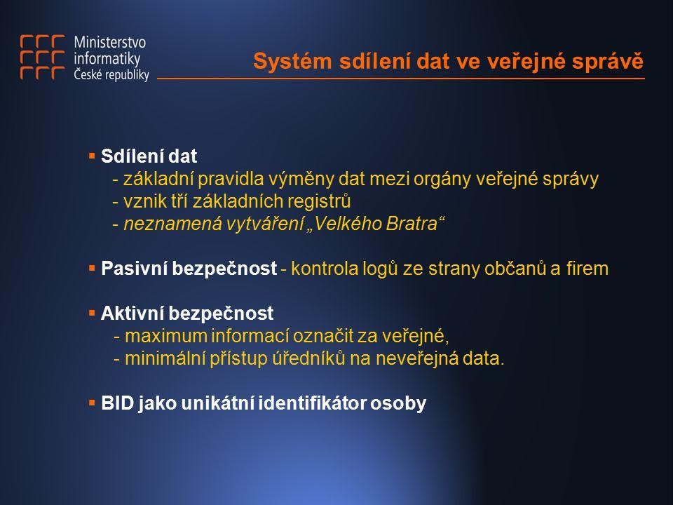 """Systém sdílení dat ve veřejné správě  Sdílení dat - základní pravidla výměny dat mezi orgány veřejné správy - vznik tří základních registrů - neznamená vytváření """"Velkého Bratra  Pasivní bezpečnost - kontrola logů ze strany občanů a firem  Aktivní bezpečnost - maximum informací označit za veřejné, - minimální přístup úředníků na neveřejná data."""