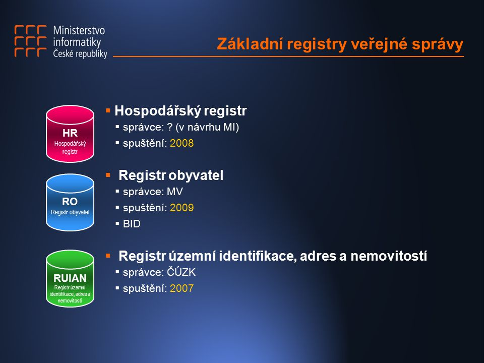 Základní registry veřejné správy  Hospodářský registr  správce: .