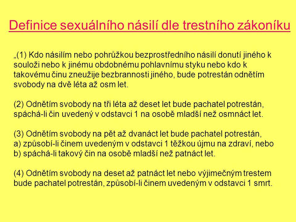 """Definice sexuálního násilí dle trestního zákoníku """"(1) Kdo násilím nebo pohrůžkou bezprostředního násilí donutí jiného k souloži nebo k jinému obdobnému pohlavnímu styku nebo kdo k takovému činu zneužije bezbrannosti jiného, bude potrestán odnětím svobody na dvě léta až osm let."""