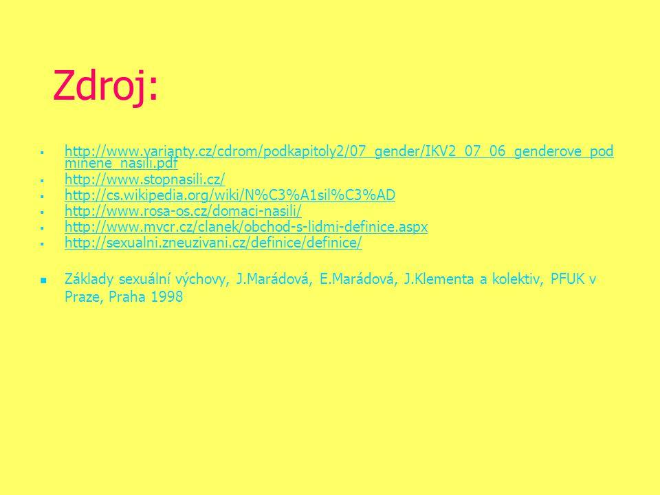 Zdroj:   http://www.varianty.cz/cdrom/podkapitoly2/07_gender/IKV2_07_06_genderove_pod minene_nasili.pdf http://www.varianty.cz/cdrom/podkapitoly2/07_gender/IKV2_07_06_genderove_pod minene_nasili.pdf   http://www.stopnasili.cz/ http://www.stopnasili.cz/   http://cs.wikipedia.org/wiki/N%C3%A1sil%C3%AD http://cs.wikipedia.org/wiki/N%C3%A1sil%C3%AD   http://www.rosa-os.cz/domaci-nasili/ http://www.rosa-os.cz/domaci-nasili/   http://www.mvcr.cz/clanek/obchod-s-lidmi-definice.aspx http://www.mvcr.cz/clanek/obchod-s-lidmi-definice.aspx   http://sexualni.zneuzivani.cz/definice/definice/ http://sexualni.zneuzivani.cz/definice/definice/ Základy sexuální výchovy, J.Marádová, E.Marádová, J.Klementa a kolektiv, PFUK v Praze, Praha 1998