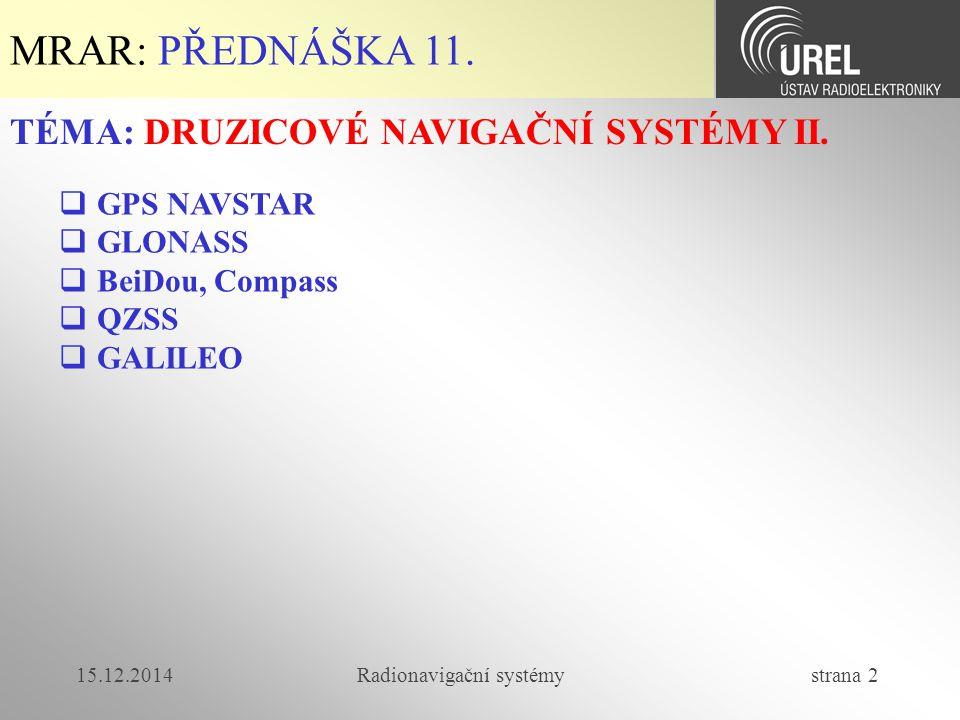 15.12.2014Radionavigační systémy strana 23 MRAR-P11: GLONASS (4/4)  V současné době vypouštěny družice se třetím kanálem (C/A i P) v pásmu 1190 – 1212 MHz.